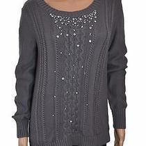 Grace Elements Grey Excalibur Embellished Cable-Knit Sweater Size M Photo