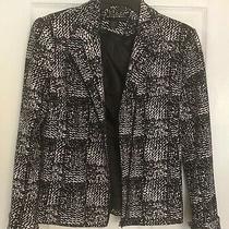 Grace Elements Ladies Black/white Print Blazer Jacket Full Zip Fully Lined Sz 4 Photo