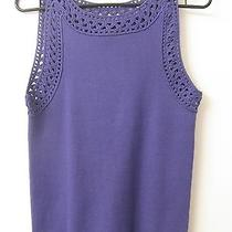 Grace Elements Large Sleeveless Top Crocheted Trim Ribbed Stretch   Photo