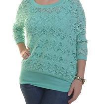 Grace Elements Layered-Look Crochet Sweater Size M Photo