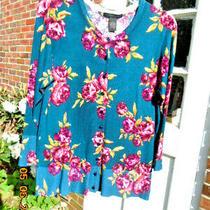 Grace Elements Lightbuttoned Multi Floral Sweater Size