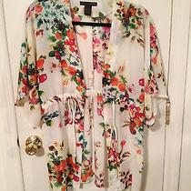 Grace Elements Macy's White Kimono With Floral Fruit Pattern Size S Photo