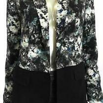 Grace Elements Misses Womens Crinkled Blazer Sz 2 Black Blue Floral Sale Us Photo