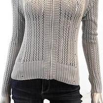 Grace Elements Misses Womens Crochet Full Zip Sweater Sz Xs Gray Solid Sale Us Photo