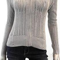 Grace Elements Misses Womens Knit Full Zip Sweater Sz S Gray Solid Sale Designer Photo