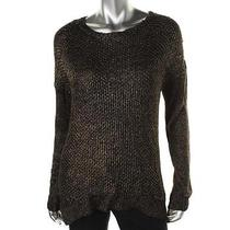 Grace Elements  New 89 Black Metallic Hi-Low Knit Sweater Top Sz S Nwt Photo