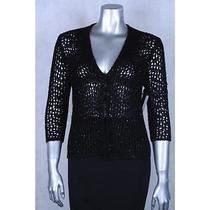 Grace Elements New Black Sequined Open Front Cardigan Sweater Size M 59.00 Lafo Photo