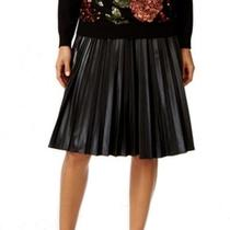 Grace Elements New Black Women's Medium M Faux-Leather Pleated Skirt 70 129 Photo