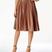 Grace Elements New Brown Women Size Medium M Faux-Leather Pleated Skirt 70 031 Photo
