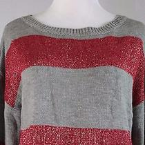 Grace Elements New Gray/red Metallic Sweater Medium Usafo Photo