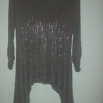 Grace Elements New Ladies Sz Med Coffee Colored Tunic Top Sheer 3/4 Sleeve Photo