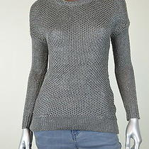 Grace Elements New Silver Metallic Hi-Low Pullover Sweater Top Msrp 70 Size L Photo