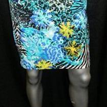 Grace Elements Nwt Aqua Blue/black/yellow Print Stretch Pencil Skirt Sz Xs 50 Photo