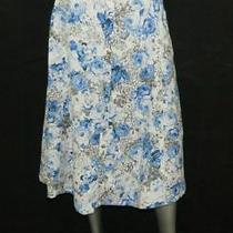 Grace Elements Nwt White/blue Print Linen Blend a-Line Midi Skirt Sz 12 70 Photo