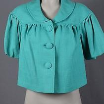 Grace Elements Nwt Womans Jacket 6 Teal Green Puff Sleeves Button Front Retro Photo