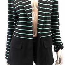 Grace Elements Open Front Misses Womens Stretch Blazer Sz 10 Black Mint Striped Photo