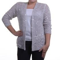 Grace Elements Open-Knit Sequined Cardigan Halo Grey S Photo