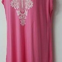 Grace Elements Pink Glaze Embroidered Knee Length Tank Dress v-Neck Size L Nwt Photo