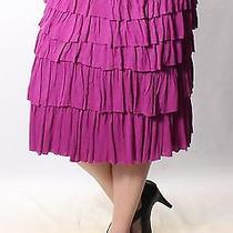 Grace Elements Purple  Above the Knee  Ruffled  Skirt  Xl Bb Photo
