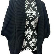 Grace Elements Ribbed Cardigan Sweater Size Xl Black 3/4 Sleeve Photo