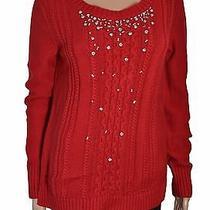 Grace Elements Scarlet Sage Embellished Cable-Knit Sweater Size M Photo