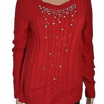 Grace Elements Scarlet Sage Embellished Cable-Knit Sweater Size S Photo