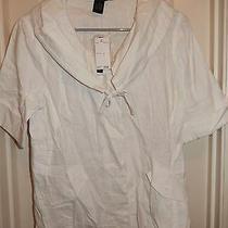Grace Elements Simply White S/s 100% Linen Unlined Blazer Jacket Sz 10 Nwt Photo