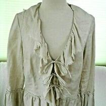 Grace Elements Size 10 Beige Linen Tie Front Ruffled Fringed Peplum Top Photo