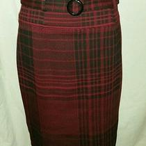 Grace Elements Size 10 Poly/ray/span Knee Length Burgundy Plaid Straight Skirt  Photo