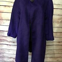 Grace Elements Size 14 Purple Mid Length Coat Jacket Dress Wool Blend One Button Photo
