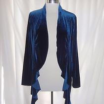 Grace Elements Size L Jacket Top Blue Stretch Velvet Ruffles  Photo