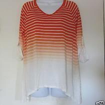 Grace Elements Size M Orange & White Striped Ombre Hi Low Top 3/4 Tab Sleeve Photo