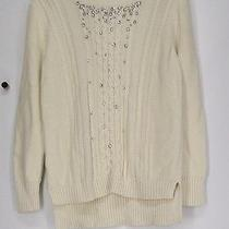 Grace Elements Size M Sweater Embellished Cable Knit Ivory New Photo