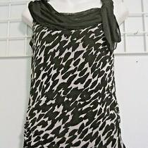 Grace Elements Size Small Stretch Top in Black & White Print With Tie at Neck Photo