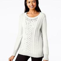 Grace Elements Size Xl Ivory Cable Knit Sweatshirt Sweater Ribbed-Trim 6q Photo