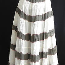 Grace Elements Skirt Size M Full Skirt Tie Dye Cotton Tiered Olive Green & White Photo