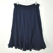 Grace Elements Skirt Women's Size Xl Flare Elastic Pull-on 100% Cotton Dark Blue Photo