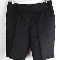 Grace Elements Solid Black Linen Classic Waist Pleated Front Dress Shorts 14w Photo