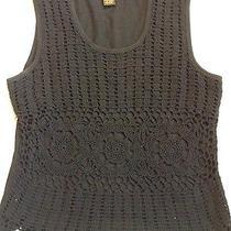 Grace Elements Sz Xl Black Boho Crochet Sleeveless 100% Cotton Top  Photo
