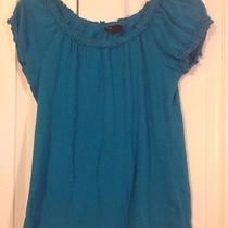 Grace Elements Teal Knit Top Ladies Small Cap Sleeve Scoop Neck Photo