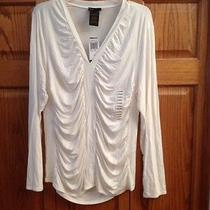 Grace Elements Top Ivory v Neck Long Sleeve Womans Size Xl New Photo