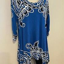 Grace Elements Tunic Top Handkerchief Hem Royal Blue White Black Fresh Print Med Photo