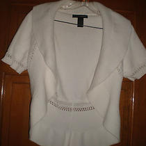 Grace Elements White 100% Cotton Open Front  Short Cardigan Bolero Sweater M Euc Photo
