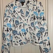 Grace Elements White Blue Print Cotton Blend Lined Blazer Jacket Tag Size 10 Photo