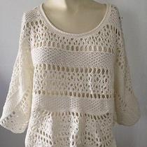 Grace Elements White Cotton Short Sleeve Cropped Sweater Sz L Photo