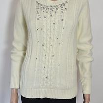 Grace Elements Winter White Embellished Cable-Knit Sweater Size M Photo