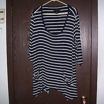 Grace Elements Woman New Plus Size 2x 3/4 Sleeve Top or Swimsuit Coverup Navy Photo