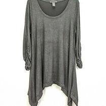 Grace Elements Woman Size 1x Black Top Rouched Sleeves Kerchief Hem Scoop Neck Photo