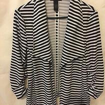 Grace Elements Women Jacket Blazer Size L Striped Long Sleeve. White and Black. Photo