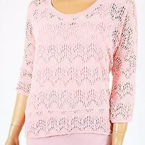 Grace Elements Women's 3/4 Sleeves Round Neck Pink Crochet Layered Sweater Top S Photo